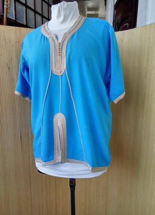 Лазурная блуза вышиванка в этно стиле штапель