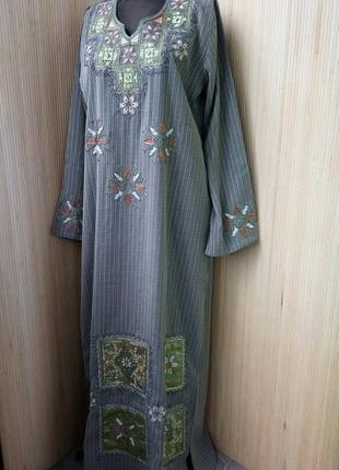 Длинное платье рубаха вышиванка в этно стиле / абая / джаллаба /  галабея