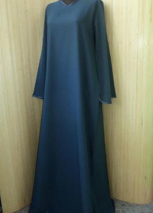 Темно серое базовое платье / рубаха / абая