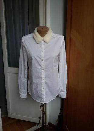 Рубашка marc cain с меховым воротником