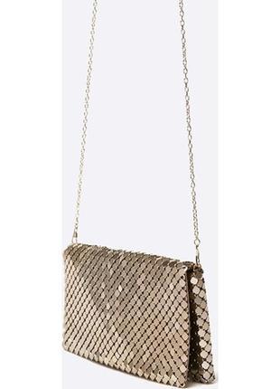 Золотистый клатч маленькая сумочка мессенджер кошелёк