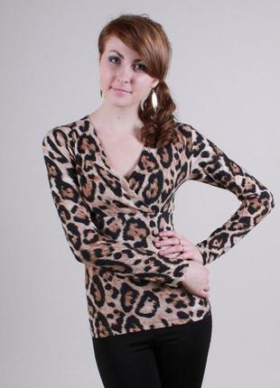 Кофта на запах леопардовый принт, размер 42-44