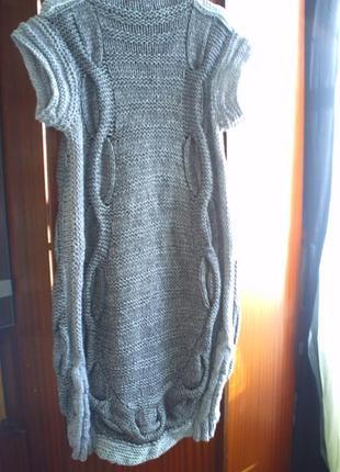 Шикарное вязаное платье р.l, ручная работа5 фото