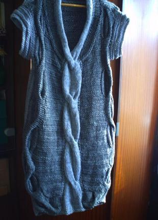 Шикарное вязаное платье р.l, ручная работа4 фото