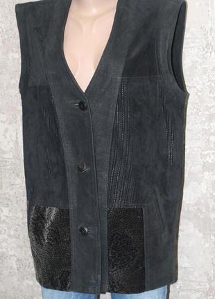 Стильный кожаный жилет 48-50
