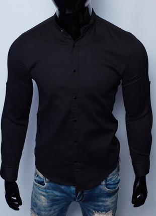 Рубашка мужская figo 7088 с регулировкой рукава черная