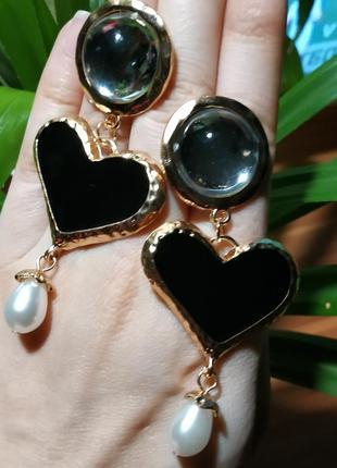 Серьги в стиле zara сережки сердце жемчужинка