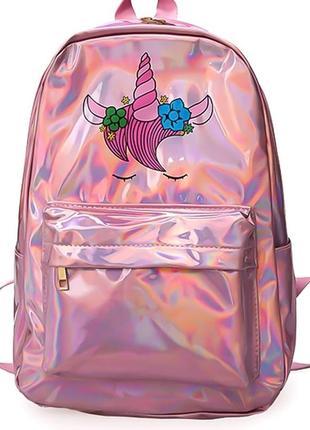 Рюкзак розовый голографический блестящий однотонный однотонный с принтом единорога