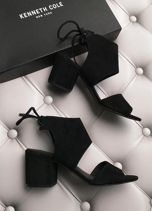 Kenneth cole new york оригинал черные замшевые босоножки на завязках бренд из сша