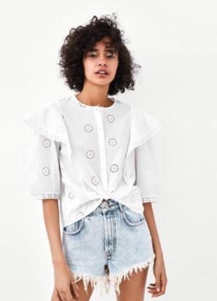 Блуза рубашка с воланами рюшами оборками zara оригинал