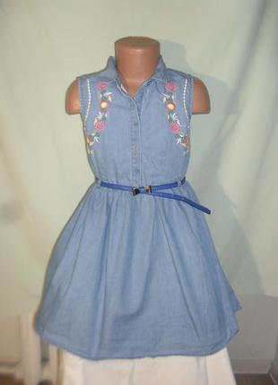 Платье из облегченного джинса с вышивкой на 7-8лет
