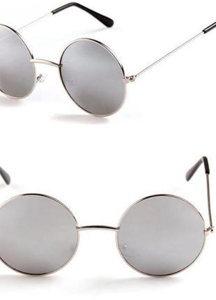 Круглые очки от солнца с металлической серебряной оправой и серебряным зеркалом