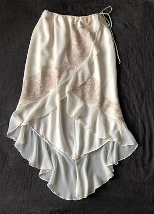 Шелковая летящая юбка на кулиске с вышивкой . m-l. натуральный шёлк 100%