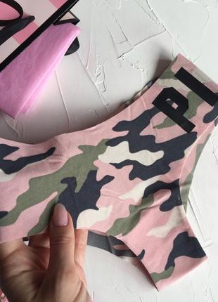 Камуфляжные бесшовные трусики victoria's secret pink оригинал, бесшовки виктория сикрет