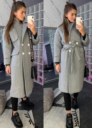 Стильное женское кашемировое пальто с утеплителем