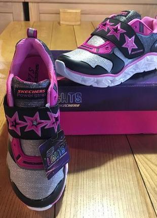 Светящиеся кроссовки skechers galaxy lights-cosmic kick sneaker - стелька 23 см