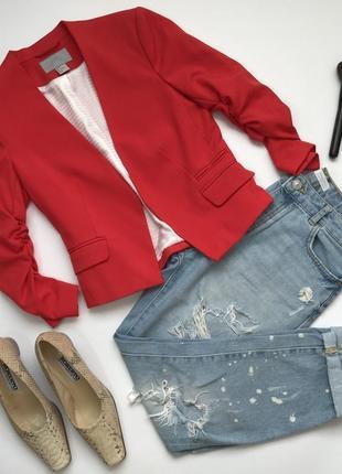 Красный короткий приталенный жакет пиджак без застежек от h&m размер xs/34/6.