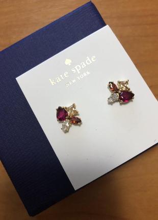 Серьги с отделкой кристаллами swarovski известный бренд kate spade new york2 фото