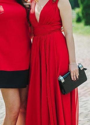 Платье на выпускной свадьбу красное