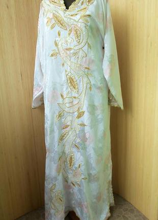 Длинное платье рубаха с вышивкой / джаллаба / абая / галабея