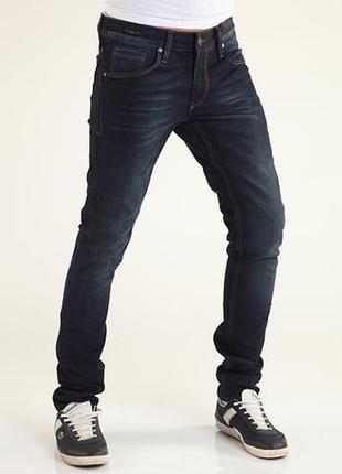 Узкие темно-синие мужские джинсы jack & jones