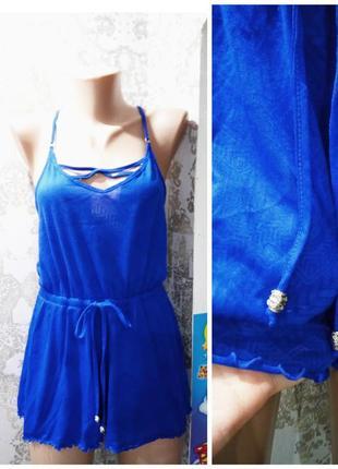 M|uk 10-12|eur 38-40|usa 6-8 ромпер - шорты синего цвета с принтом primark