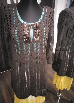 Ажурная кружевная туника блуза краше крючок