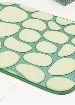 Плюшевый коврик «галька» зеленый 40×60 см