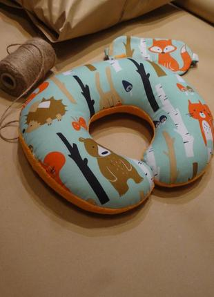 Дорожная подушка - белка, подушка для путешествий - лиса, подушка для шеи - медведь