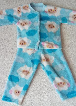 Теплая зимняя пижама штаны + кофта 2-3 года