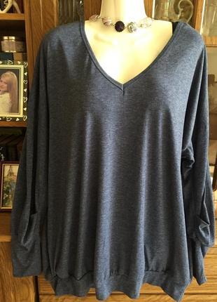 Отличный свитер блузон длинный рукав раз 3xl(54)