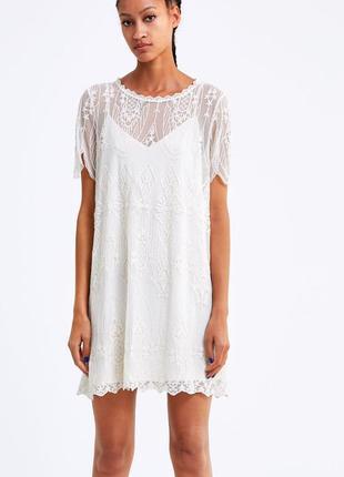 Платье с кружевом кружевное кремовое с вышивкой zara оригинал