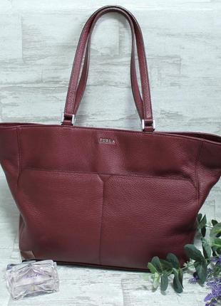 Оригинальная кожаная сумка  шопер furla