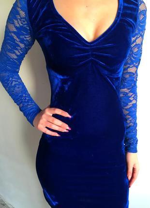 Продам яркое синее бархатное платье с кружевом