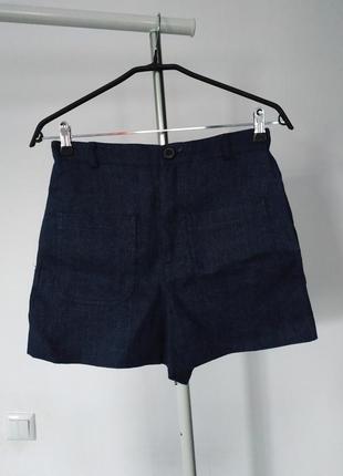 Фактурные плотные льняные шорты от zara pp s