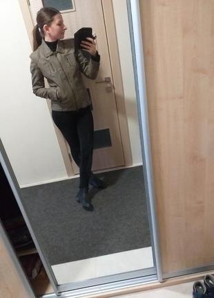 Кожанка косуха, натуральная кожанная кожаная куртка хаки