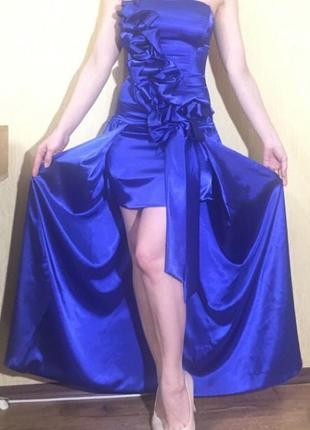 Платье шелковое выпускное вечернее синее 40р.