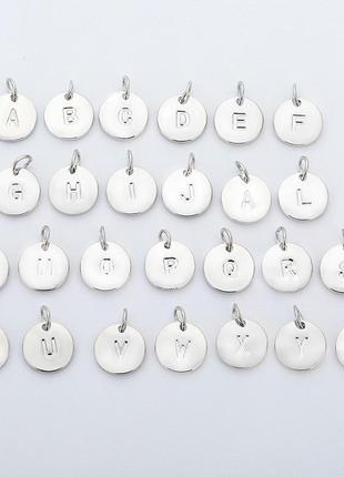 Комплект английские буквы подвеска кулон серебро