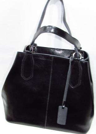 Черная кожаная сумка большая вместительная шоппер с длинным ремешком из натуральной кожи
