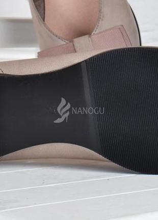 Туфли женские кожаные fabio monelli на каблуке темно бежевые4 фото