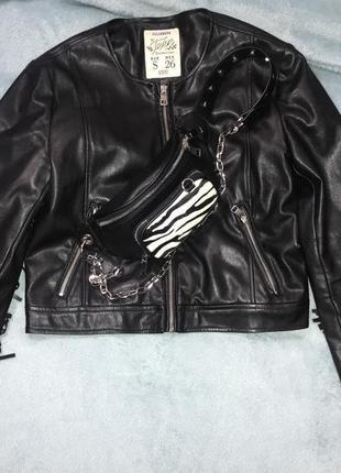 Кожаная куртка с бахромой pull&bear