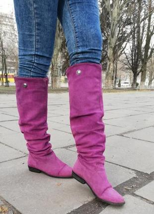 Кожаные высокие сапоги натуральная кожа замша фиолетовые