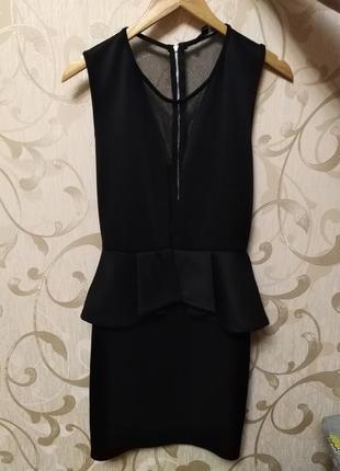 Шикарное чёрное платье с баской tally weijl