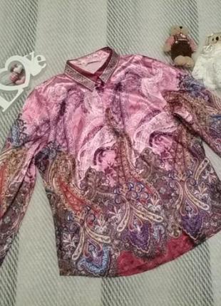 Роскошная атласная блуза с восточным принтом от basler