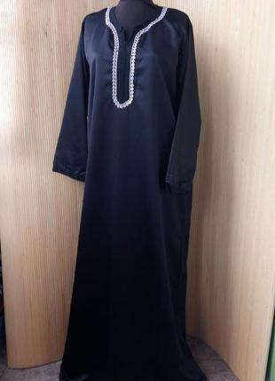 Длинное чёрное платье атлас / абая / галабея l/xl