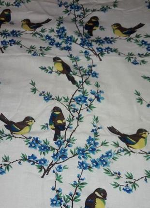 Большая скатерть синички льняная