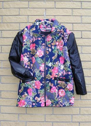 Шикарная куртка парка р.48-50 рукава эко кожа