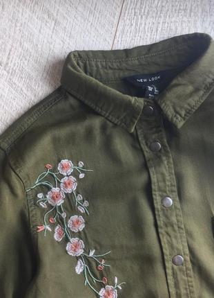 Сорочка в стилі мілітарі, в квіти 🌿5