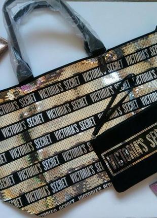 Сумка на молнии + косметичка от victoria's secret - оригинал4 фото