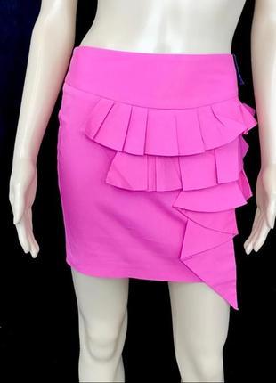 Изящная мини юбка цвет барби с воланами 1+1=3 🎁
